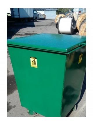 Контейнер для мусора квадратный на колесах 0,75 м/куб..