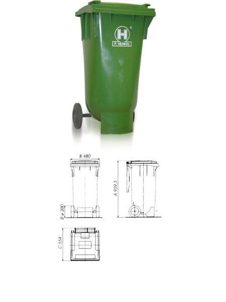 Контейнер для мусора 120 литров, Henkel, сферическое дно.