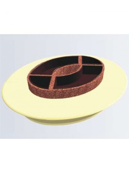 Скамья круглая из стеклокомпозита с цветочницей (модульная система МОДУС 14.1).