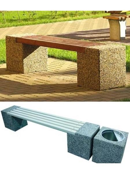 Скамейка бетонная без спинки Евро-2 в комплекте с урной.