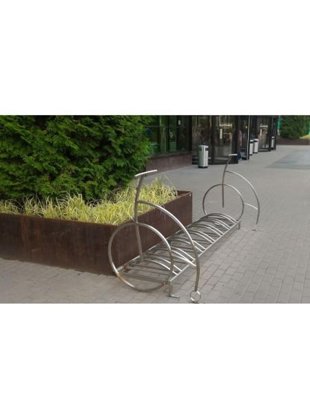Велопарковка Velo-7 нержавеющая сталь (с боковинами велосипедами).