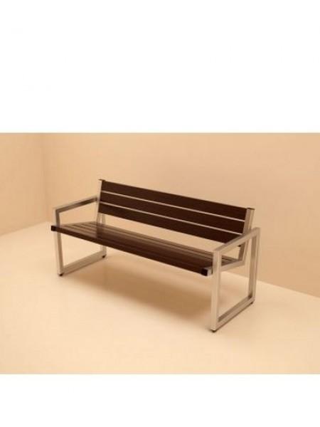 Скамейка из нержавеющей стали Мадрид со спинкой.